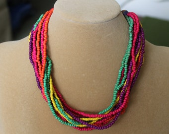 Twelve Strand Wooden Necklace is Beautiful in Primary Colors for Summer Wear, Yellow, orange, fuschia, purple,green beads,Resort, Cruise