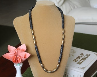 Steampunk Strand of Brass and Metallic Beads, Gray black and brassbeads