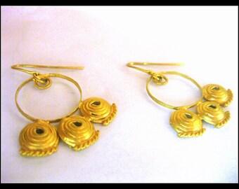 Gold Earrings ethnic,roman,trible,dangle earrings,Bride earrings , vermeil earrings , ancient , vermeil