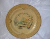 Tin metal plate, Barret Ware, English cottage scene, vintage tin plate, display plate
