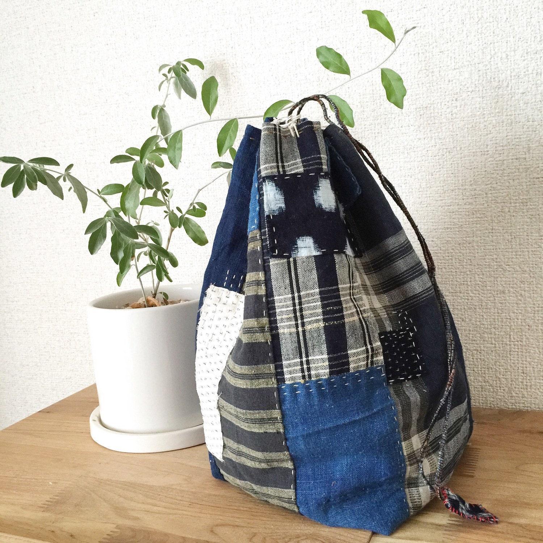 Japanese Boro Bag Komebukuro Drawstring Bag By