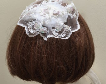 Lace White Kippah, White Lace Yarmulke, Beaded Kippa