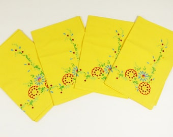 Set of four Vintage Embroidered Luncheon Napkins