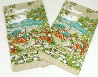Set of Two Vintage Tea Towels