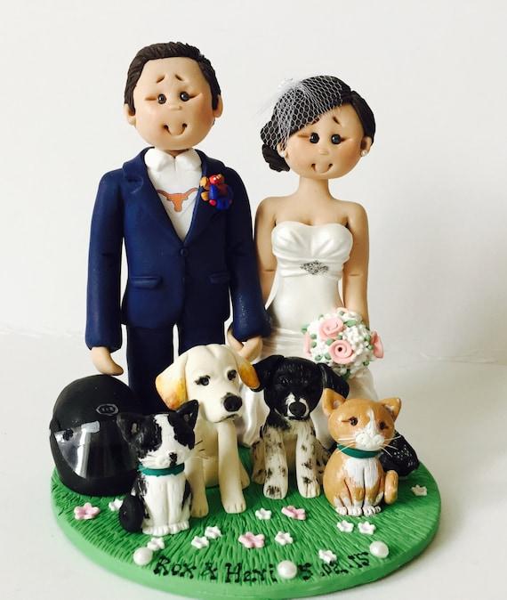 Bride And Groom With Pets And Biker Helmet Wedding Cake