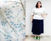 Plus Size - Vintage Cream Floral Peasant Blouse (Size 16/18)