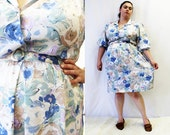 Plus Size - Vintage Jacquard Floral Print Shirt Dress (Size 16)