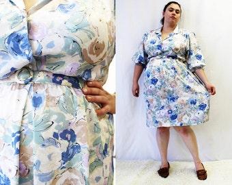 Plus Size - Vintage Jacquard Floral Print Shirt Dress (Size 16)