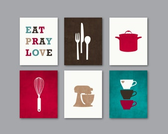 Kitchen Art Print Set, Kitchen Decor, Eat Pray Love Wall Art, Silhouettes, Deep Red, Beige, Brown, Cream, Teal, Set of (6) 5x7 OR 8x10