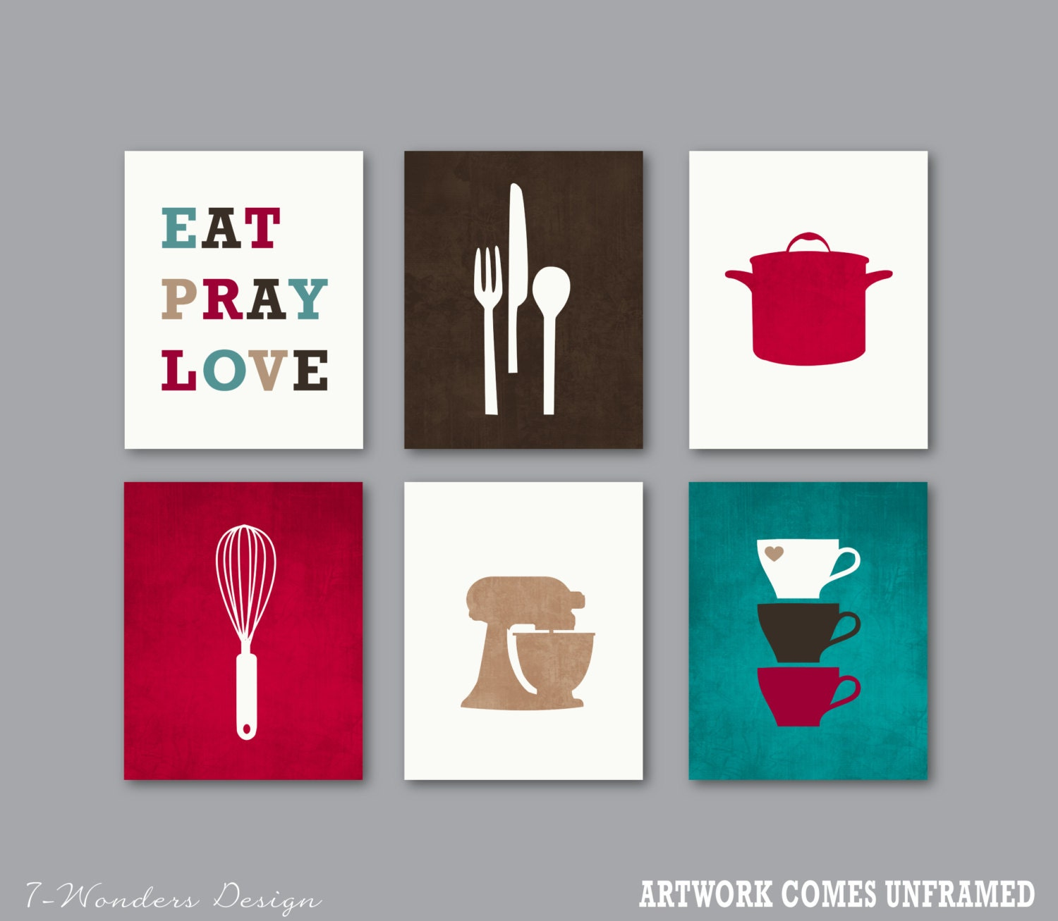 Wall Decor For Eat In Kitchen : Kitchen art print set decor eat pray love wall
