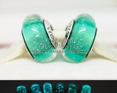 2015 New 925 Silver Ariel's Signature Color Fluorescence Charm Murano Glass Beads European Charm Beads Fit European Charm Bracelets / ZS311