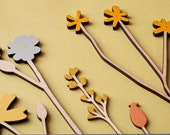 Wooden Flowers - Wooden Meadow Flowers - Plywood Flowers - Individual Stems