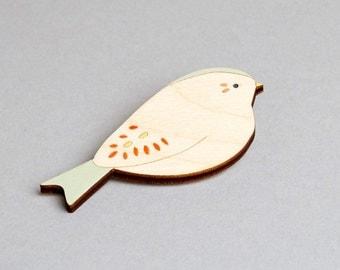 Wooden Bird Brooch - Bunting