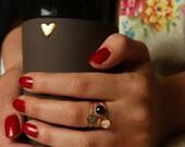 black ceramic Coffee mug without handle, 2 unique mugs , large coffee mug, set of two pure gold heart mugs. ,