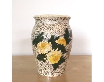 Handmade Ceramic Vase with Yellow Flowers