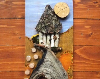 3D painting, collage on wood