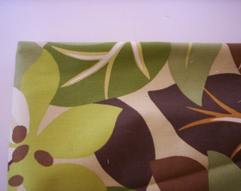 Abstract floral fabric/Green Floral fabric/Summer fabric/Brown and green Cotton fabric/Cushion fabric/100% cotton/Quilt fabric/sewing fabric
