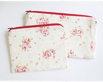 Large and small zip pouch cosmetic make up pouch travel organizer pencil case coin purse red rose