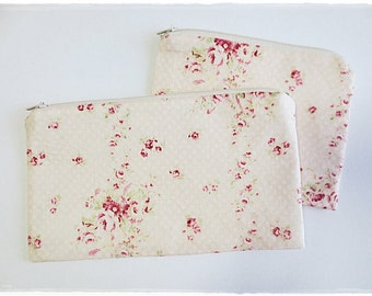 Large and small zip pouch cosmetic make up pouch travel organizer pencil case coin purse red rose pink base