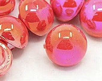 Mushroom Shimmer Red Orange Resin Shank Buttons for sewing knitting crocheting crafts jewelry scrapbooking art clothes Pack of 50 10mm