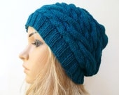 Hand Knitted Hat, Women's Pure Wool Cabled Slouchy Beanie Hat, Petrol Blue Green Oversized Beanie, Braided Slouchy Hat, ClickClackKnits