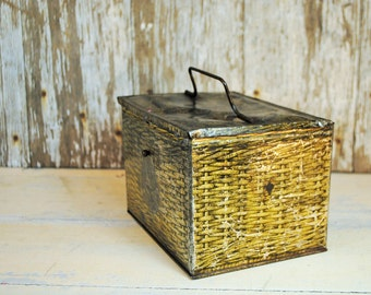 Antique Pattersons Seal Cut Plug Tobacco Lunchbox Collectible Tin Old Tobacciana VERY ROUGH lots of patina brown gold  Home Decor storage