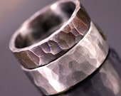 Steel Wedding Ring, Custom Mens ring, Womens ring,Unique band - Hand forged stainless steel ring - Draill