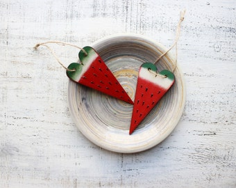 Wooden heart ornaments wedding favors bridal shower baby shower watermelon summer red green white