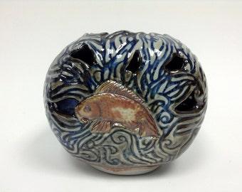 Porcelain Koi, Vase, Koi Art, Unique Art, Sgrafitto Vase