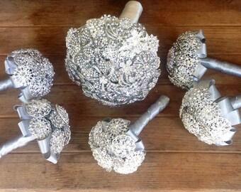 DEPOSIT | Rhinestone Brooch Bouquets | Bride & Bridesmaids Bouquet Package | Rhinestone Bouquets