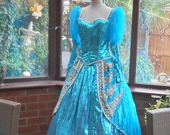 Ariel Gown with hooped underskirt Custom made to measure ariel cinderellal gown queen fairy princess stage party banquet theater