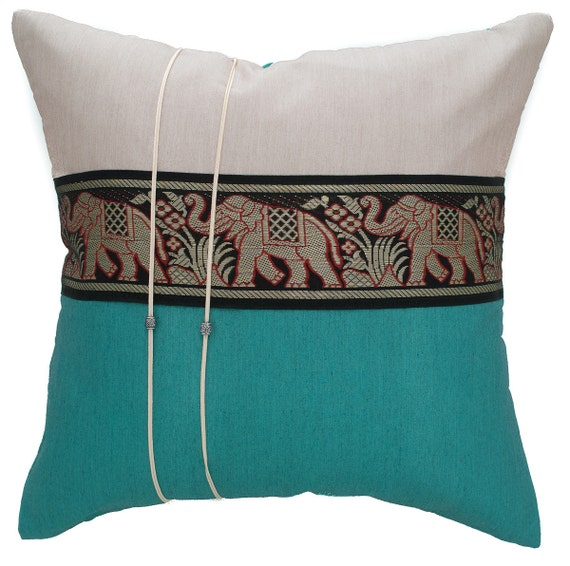 Avarada 16x16 Striped Elephant Throw Pillow Cover By