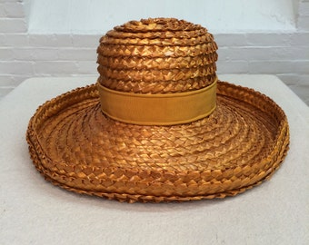vintage summer hat // cellophane straw woven sun hat // made in France // Neiman Marcus // 1960s 1970s