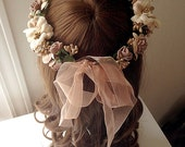 DARKWHISPER Couture Spring Wedding Season Handmade Tawny Flowers & Ribbon Bride Hair accessory