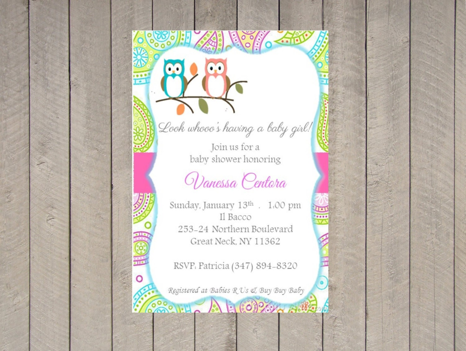 owl themed baby shower invitations or digital file