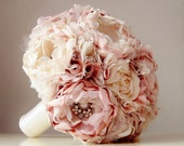 Fabric Wedding Bouquet,  Brooch Bouquet,  Vintage Style Bridal Bouquet, Handmade Fabric Bouquet,  Weddings,  Dusty Rose Pink