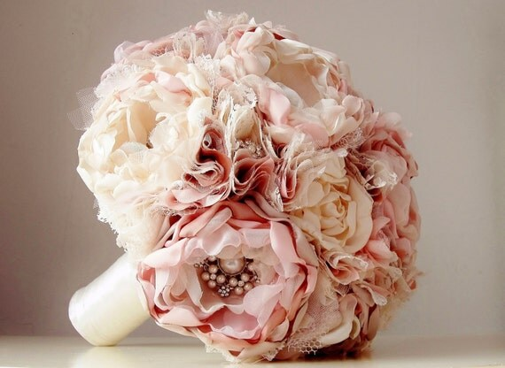 fabric wedding flowers fabric wedding bouquet brooch bouquet vintage by bouquets4love 3964