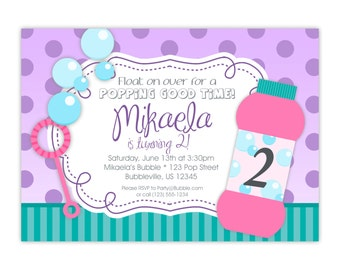 Bubble Invitation - Teal Turquoise Stripe Purple Polka Dot, Pink Blowing Bubbles Personalized Birthday Party Invite - Digital Printable File