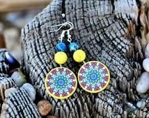 Denim Blue Dangle Earrings, Sterling Silver, Yellow Dangles, Natural Stone Earrings, Magnesite Jewelry, Decoupage Earrings, Unusual Bohemian