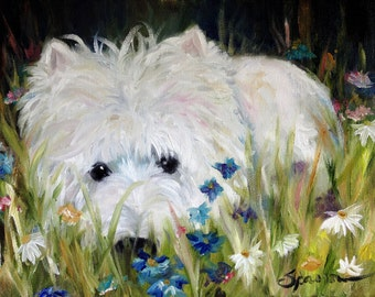 "PRINT White Westie West Highland Terrier Dog Puppy  Spring flowers wildflower / Mary Sparrow ""Waiting in the Wildflowers"""