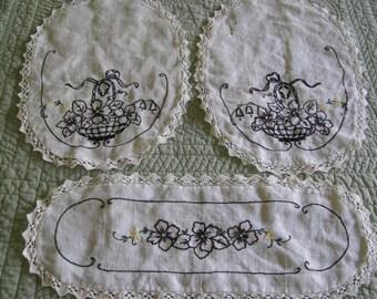 Vintage Dresser Scarves, Set of 3