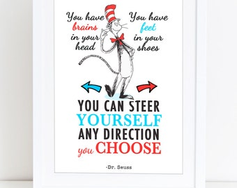 Printable Dr Seuss Quote - You have brains in your head. You have feet in your shoes. You can steer yourself any direction you choose.