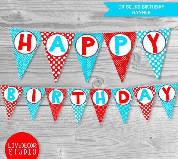 Dr Seuss Birthday Banner Printable Seuss Decorations Blue