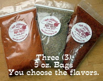 BBQ Rub Gift Set, by Big Herm's BBQ, 3, 5oz. bags ~ You Choose the Flavor, barbeque, smoker, grill, big green egg, traeger, edible food, rub