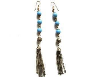 Long Tassel Earrings Blue Beads Shoulder Dusters Drop Earrings