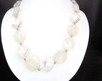 Clear Ice Lucite Necklace Frosted Bead Accent 18 Inches