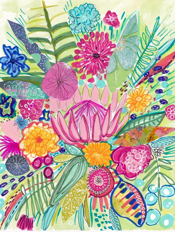 Tropical flower painting printable printable flower art for Art flowers