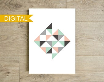 Affiche triangles moderne imprimer poster g om trique for Art minimaliste pdf