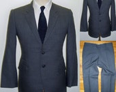 38S 1960s Vintage BESPOKE Fitted Slimfit 100% Wool Two Piece Business Mens Suit