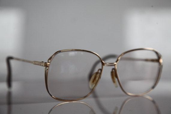 Vintage CARL ZEISS eyewear Gold Frame Rhinestones Clear